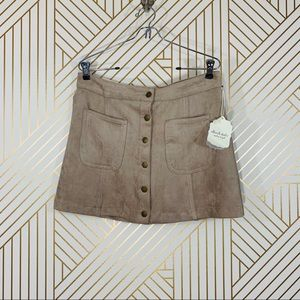 NWT Altar'd State Taupe Suede Mini Skirt